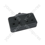 Rubber 2 Gang Trailing Sockets - 13A extension socket, Black