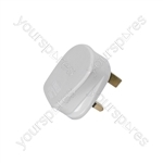Rubber UK Mains Plugs - plug, 13A fuse, white