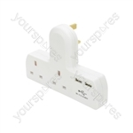 Plug-in 2-Way Mains Adaptor with Dual USB Ports