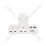 2 Way UK Mains Adaptor with Dual USB Ports - Plug-in 2-Way