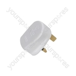 UK mains plug, 3A fuse, white