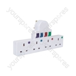 Plug-in 4 Way Mains Adaptor - with surge protection