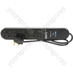 4-Gang Gloss Black 2m Extension Lead with Surge Protection and Dual USBs - Protected 2xUSB