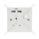 1-Gang UK Mains Socket with Dual USB Ports - Switched 2