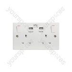 2-Gang UK Mains Sockets with Multiple USB Ports - Switched 3.6A