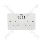 2-Gang UK Mains Sockets with Multiple USB Ports - 4 4.8A