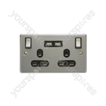 Brushed Steel 2 Gang UK Mains Socket with Dual USB Ports - Double Wall Plate