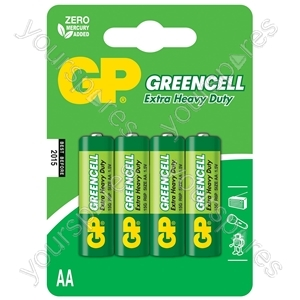 Zinc chloride batteries, AA, 1.5V, packed 4 per blister