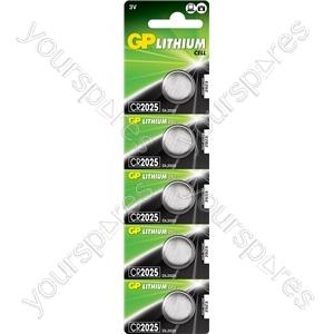 Lithium Button Cells - CR2025, 3V, 150mAh, 2.5 x 20mmØ 5pc/card