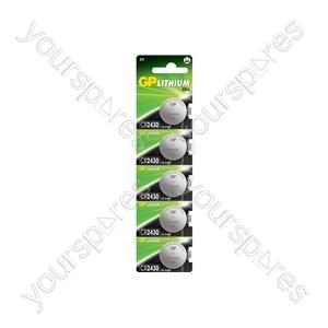 Lithium Button Cells - CR2430, 3V, 270mAh, 3.0 x 24.5mmØ, 5pc/card