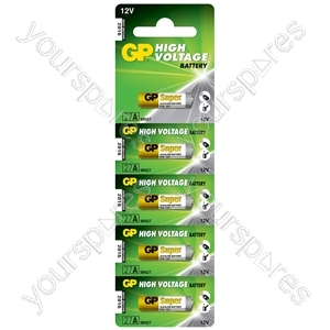 GP High Voltage Alkaline Batteries - 27A 12V battery - 5 piece on blister - 5pk