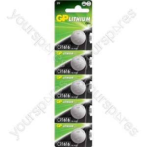 Lithium Button Cells - CR1616, 3V, 55mAh, 1.6x16.0mmØ, 5pc/card