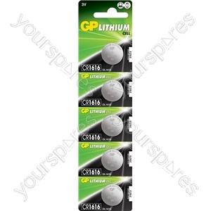 Lithium Button Cells - CR1616, 3V, 55mAh, 1.6x16.0mmØ, 5pc/card