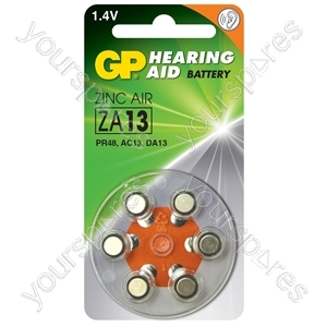 GP Zinc Air Hearing Aid Batteries - ZA13 (PR48) Orange, 1.4V, 230mAh, 5.4x7.9mmØ, 6pcs/pack