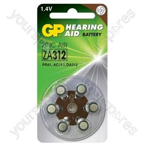 GP Zinc Air Hearing Aid Batteries - ZA312 (PR41) Brown, 1.4V, 125mAh, 3.6x7.9mmØ, 6pcs/pack
