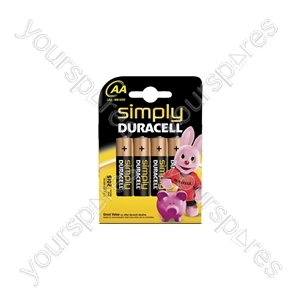 AA Simply Duracell Alkaline Batteries - 4 Pack