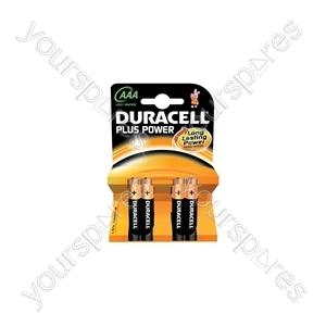 Duracell Plus Power Alkaline Batteries - AAA - 4 Pack