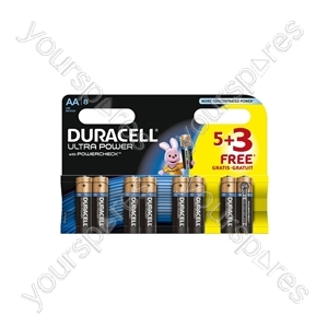 Duracell Plus Power Alkaline Batteries 5+3 Pack - AA of