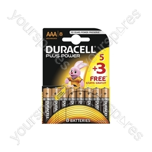 Duracell Plus Power Alkaline Batteries 5+3 Pack - AAA of