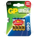 GP Ultra+ Alkaline Batteries - batteries, AAA, 1.5V, packed 4/blister