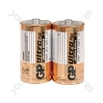 GP Ultra Alkaline Batteries - batteries, C, 1.5V, packed 2/blister