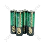 GP Greencell Zinc Chloride Batteries - batteries, AA, 1.5V, packed 4 per blister