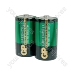 GP Greencell Zinc Chloride Batteries - batteries, D, 1.5V, packed 2 per blister