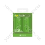 GP Recyko+ NiMH Rechargeable Batteries - 5700 D (Card of 2)