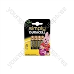 Simply Duracell Alkaline Batteries - AAA - 4 Pack