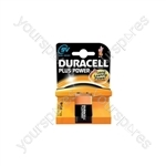 Duracell Plus Power Alkaline Batteries - 9V PP3 Single Pack