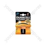 Duracell Plus Power Alkaline Batteries - 9V PP3 Single Pack