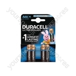 Duracell Ultra Plus Alkaline Battery - Power AAA Pack of 4