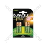 Duracell NiMH Plus Rechargeable Battery - AAA Card of 4