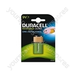 Duracell NiMH Ultra Rechargeable Battery - PP3 Card of 1