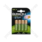 Duracell NiMH Ultra Rechargeable Battery - AA Card of 4