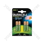 Duracell NiMH Ultra Rechargeable Battery - AAA Card of 4