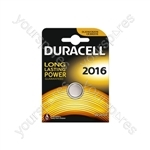 Duracell Lithium Coin Cell Battery - CR2016 Card of 1