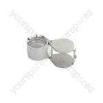 Pocket Magnifier - Folding Magnifier, 21mm Loupe, 10x, Chrome - PMS-063