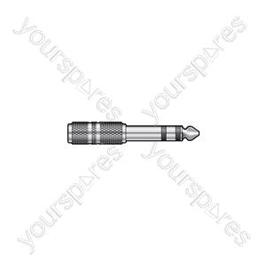6.3mm Stereo Jack Plug - 3.5mm Stereo Jack Socket - Adaptor to nickel