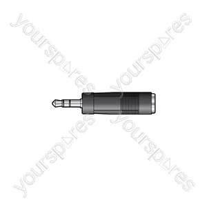3.5mm Stereo Jack Plug to 6.3mm Mono Jack Socket - - Skt Adaptor
