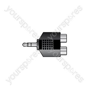 3.5mm Stereo Jack Plug to 2 x RCA Phono Sockets - - Skt