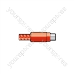 RCA in-line socket, plastic, Red