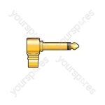 Right Angle 6.3mm Mono Jack Plug to RCA Phono Socket - Gold plated adaptor socket