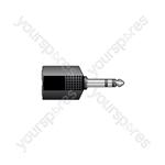 JE2044 Adaptor 6.3mm stereo plug to 2 x 6.3mm stereo sockets - black version
