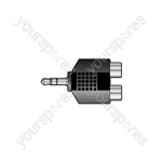 3.5mm Stereo Jack Plug to 2 x RCA Phono Sockets - - Skt