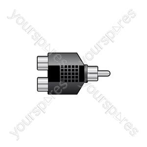 WE11127 Splitter RCA plug to 2 x RCA sockets