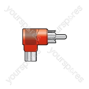 Adaptor RCA plug to RCA socket, right angle, Red