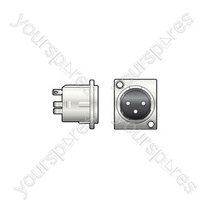 XLR chassis socket, 3-pin, square