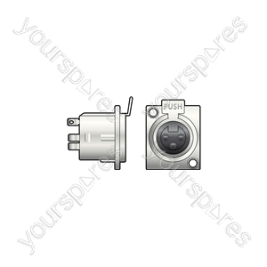3-pin XLR Chassis - socket, 3-pin, square