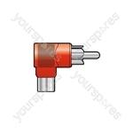 Adaptor RCA plug to RCA socket, right angle, Black